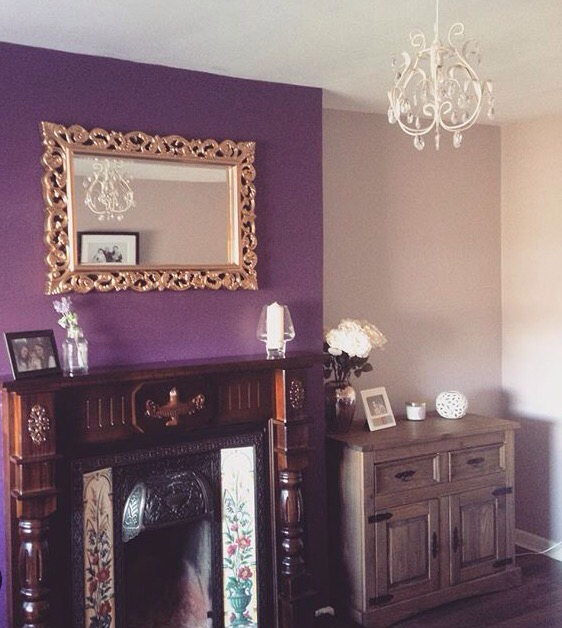 Purple Feature Wall Living Room